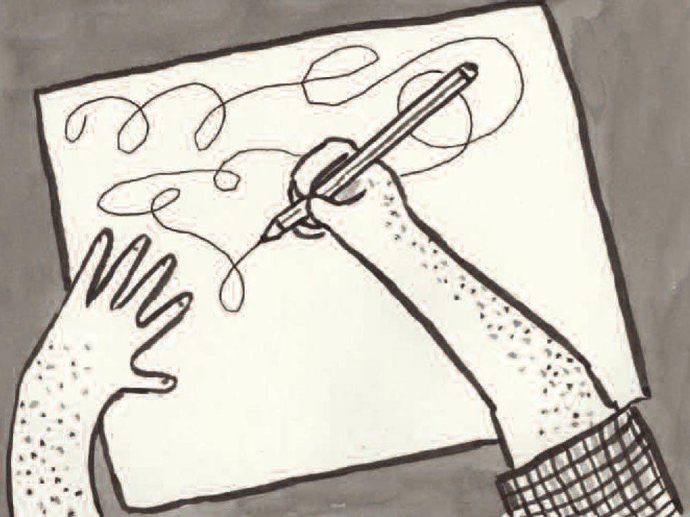 Arna scribbling (Lynda Barry)
